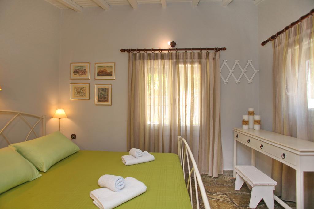 villa pine trees bedroom king size bed kardous villas skopelos greece