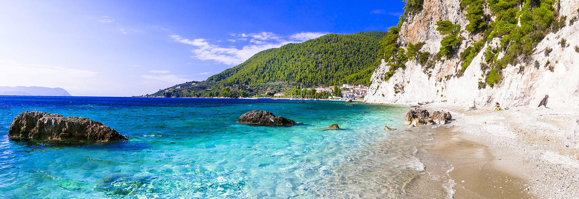 beautiful Skopelos island - picturesque  Hovolos beach. Sporades