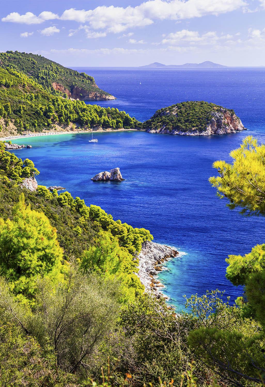 Beautiful beaches and nature of Skopelos island. Stafilos bay. N